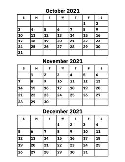 2021 October November Calendar