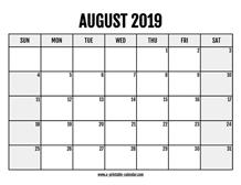 August 2019 Calendars Printable Calendar 2019