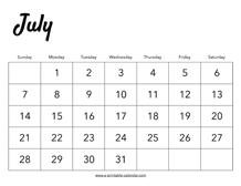 July 2019 Calendar Printable