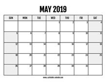 2019 Calendar May