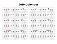 2019 year calendar with holidays