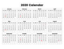 graphic relating to Calendar With Holidays Printable called Printable Calendar 2020 - Basic Enlightening Printable Calendars