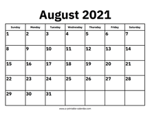Monthly Calendar 2021 August August 2021 Calendars – Printable Calendar 2021