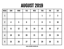 August Calendar 2019 Printable