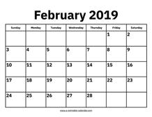 Calendar Feb 2019.February 2019 Calendars Printable Calendar 2019