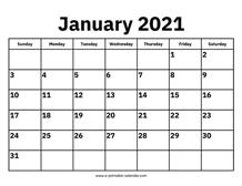 Working Days Calendar 2021 Background
