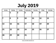 July 2019 Calendars – Printable Calendar 2019
