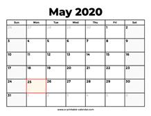 May 2020 Calendar Printable