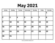 Photos of May 2021 Weekly Calendar