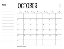 October 2021 Calendar With Notes Wallpaper