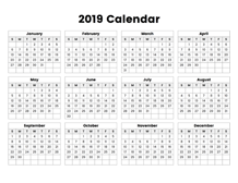 2019 calendar one page with notes